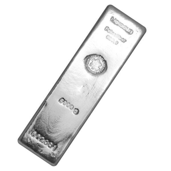 Srebrna poluga 5000 grama Heraeus, prednja strana