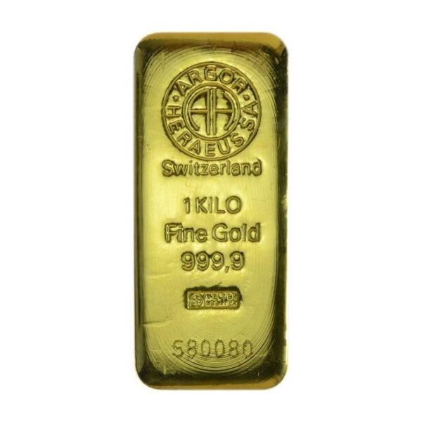 Zlatna poluga 1000 grama Argor Heraeus, prednja strana