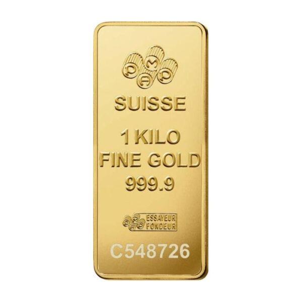 Zlatna poluga 1000 grama PAMP, prednja strana