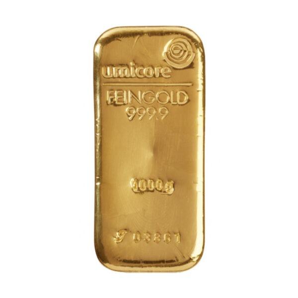 Zlatna poluga 1000 grama (1 kilogram) Umicore, prednja strana