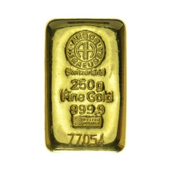 Zlatna poluga 250 grama Argor Heraeus, prednja strana