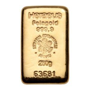 Zlatna poluga 250 grama Heraeus, prednja strana