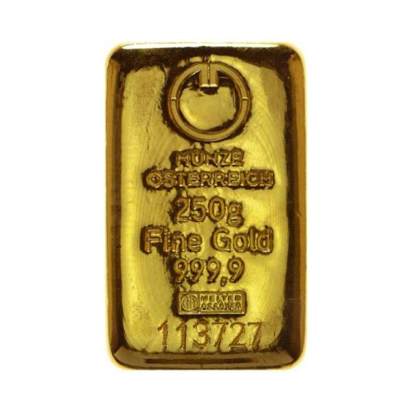 Zlatna poluga 250 grama Münze Österreich, prednja strana
