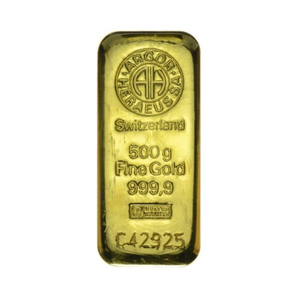 Zlatna poluga 500 grama Argor Heraeus prednja strana