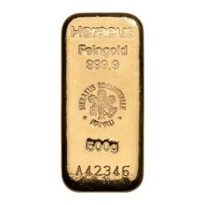 Zlatna poluga 500 grama Heraeus, prednja strana