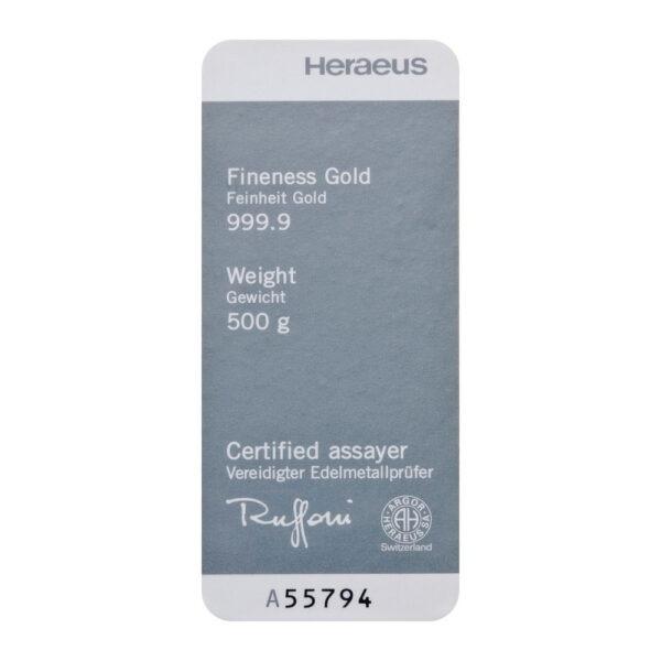 Zlatna poluga 500 grama Heraeus, stražnja strana (certifikat)