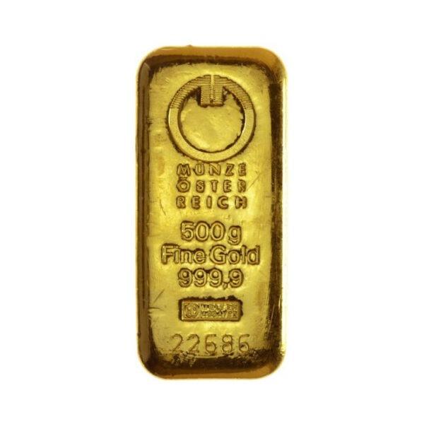Zlatna poluga 500 grama Münze Österreich, prednja strana