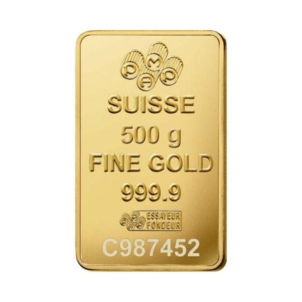 Zlatna poluga 500 grama PAMP, prednja strana