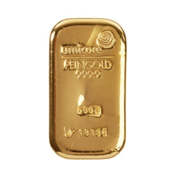Zlatna poluga 500 grama Umicore, prednja strana
