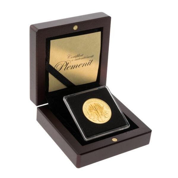 Zlatna poluga Wiener Philharmoniker pola unce u drvenoj poklon kutiji, stražnja strana