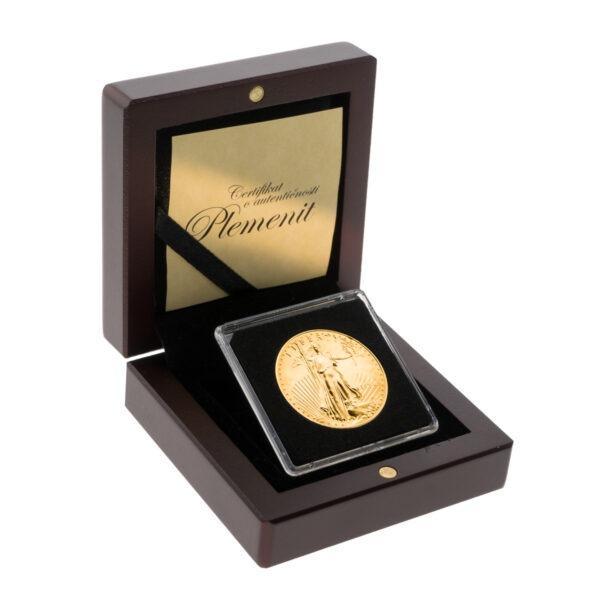 Zlatnik American Eagle (Američki Orao) 1 unca u drvenoj poklon kutiji, prednja strana