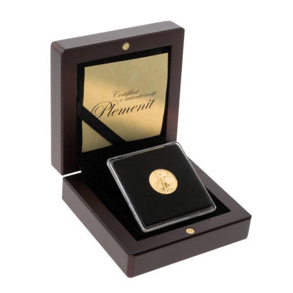 Zlatnik American Eagle (Američki orao) od jedne desetine unce u drvenoj poklon kutiji, stražnja strana