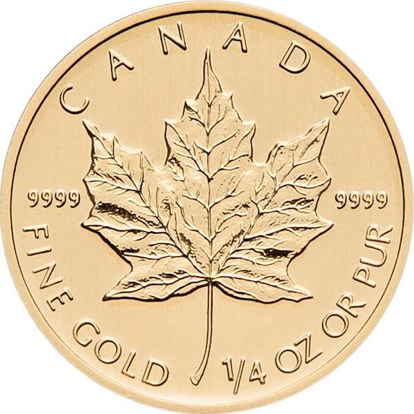 Zlatnik Javorov list (Maple Leaf) mase 1/4 unce, prednja strana