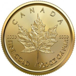 Zlatna poluga Javorov list Maple leaf dvadesetina (1/20) unce, prednja strana