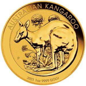 Zlatnik Klokan Kangaroo 1 unca (31,103 grama) godina 2021, prednja strana