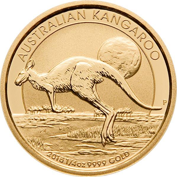 Zlatnik Klokan Kangaroo mase četvrtine unce (7,77 grama), prednja strana