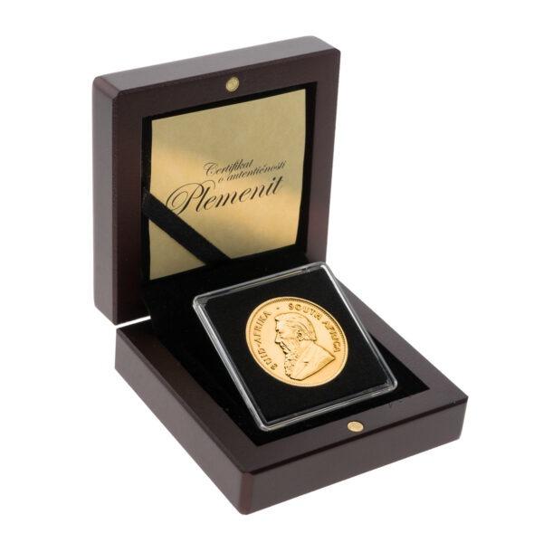 Zlatnik Krugerrand 1 unca u drvenoj poklon kutiji, prednja strana
