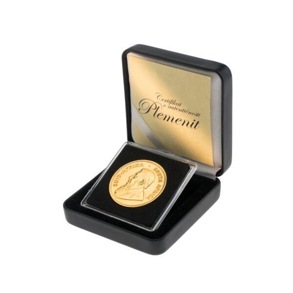 Zlatnik Krugerrand 1 unca u poklon kutiji od umjetne kože, stražnja strana