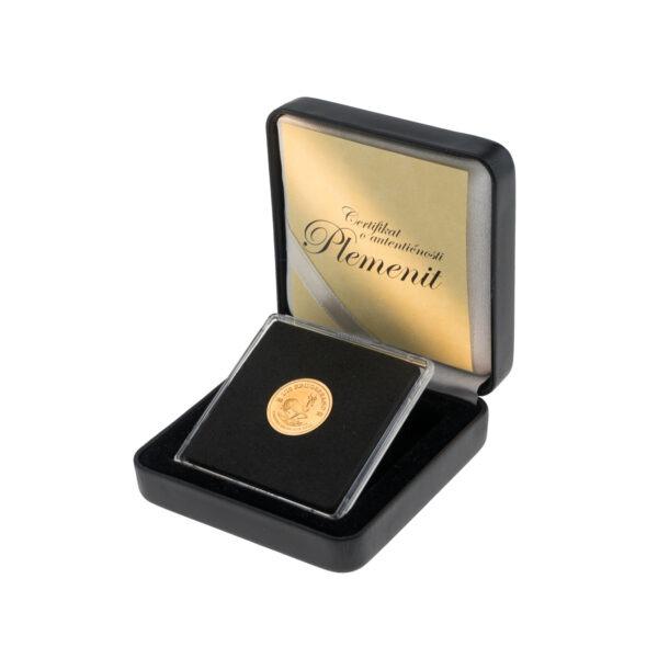 Zlatnik Krugerrand od jedne desetine unce u poklon kutiji od umjetne kože, prednja strana
