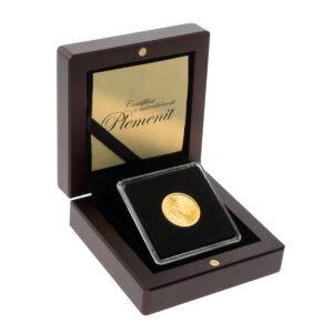 Zlatnik Maple Leaf (Javorov list) od četvrtine unce u drvenoj poklon kutiji, prednja strana
