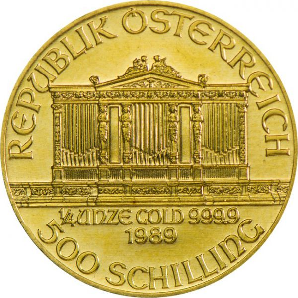 Wiener Philharmoniker četvrtina unce 1989 500 schilling prednja strana