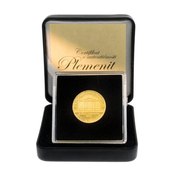 Zlatnik Wiener Philharmoniker od četvrtine unce frontalno, u poklon kutiji od umjetne kože, prednja strana