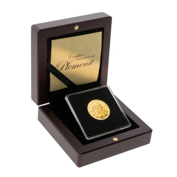 Zlatnik Wiener Philharmoniker od četvrtine unce u drvenoj poklon kutiji, stražnja strana