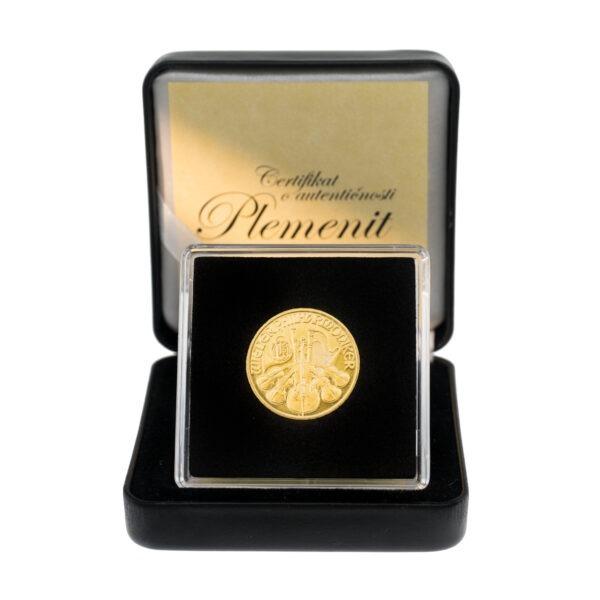Zlatnik Wiener Philharmoniker četvrtina unce, frontalno, u poklon kutiji od umjetne kože