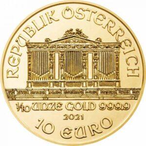 Zlatnik Wiener Philharmoniker desetina unce 1/10 oz godina 2021, nominala 10 eura (3,11 grama)