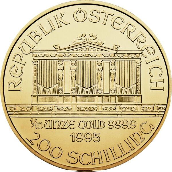 Zlatnik Wiener Philharmoniker desetina unce 1/10 oz, godina 1995, nominala 200 schilling (3,11 grama)