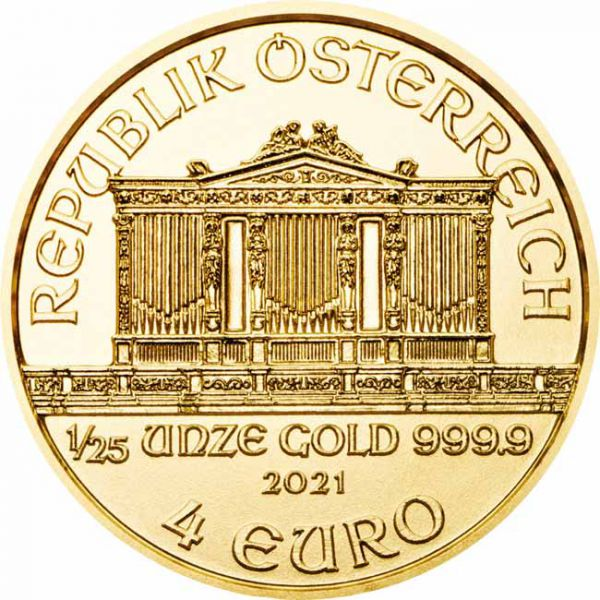 Zlatnik Wiener Philharmoniker dvadesetpetina unce 1/25 oz (1,24 grama)