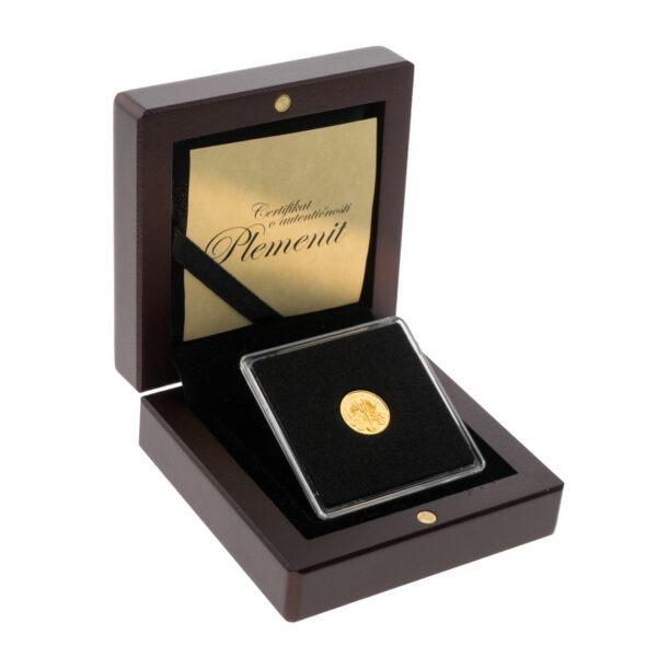 Zlatnik Wiener Philharmoniker od jedne dvadesetpetine unce u drvenoj poklon kutiji, stražnja strana