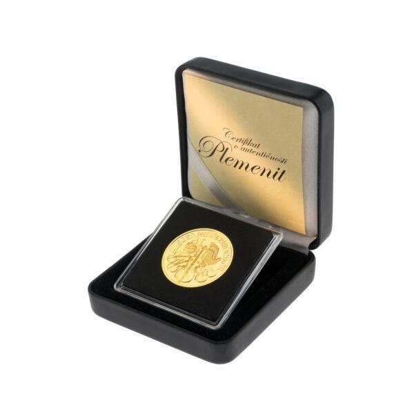 Zlatna poluga Wiener Philharmoniker pola unce u poklon kutiji od umjetne kože, stražnja strana