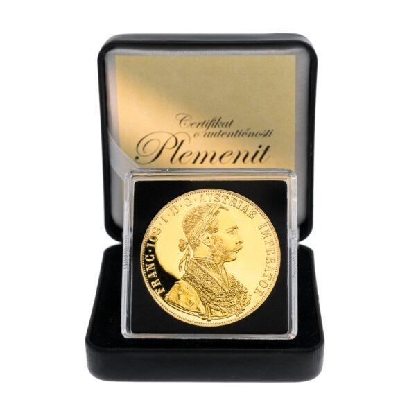 Zlatni dukat, četvorostruki, veliki, frontalno, u drvenoj poklon kutiji, prednja strana