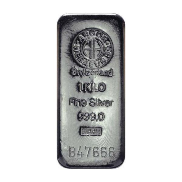 Srebrna poluga 1 kilogram (1000 grama) Argor Heraeus, prednja strana