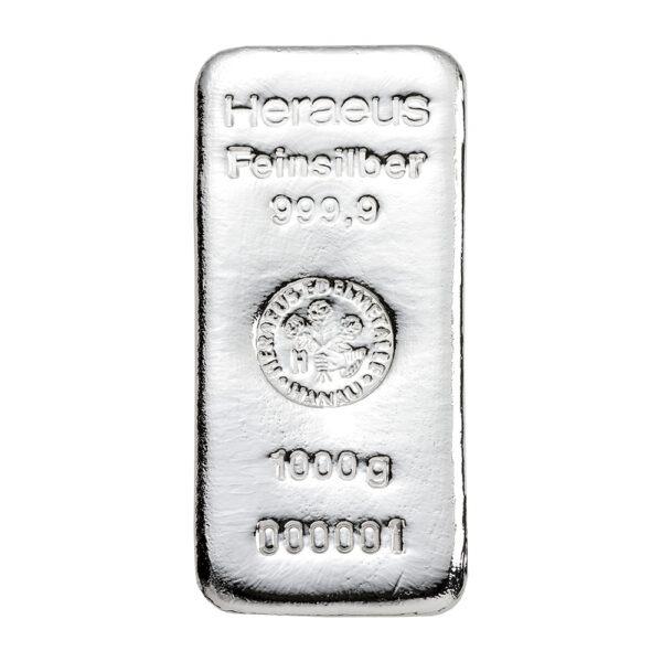 Srebrna poluga 1 kilogram (1000 grama) Heraeus, prednja strana