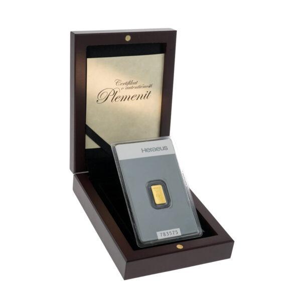 Zlatna poluga 1 gram Heraeus u drvenoj kutiji