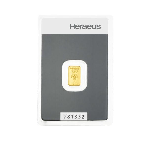 Zlatna poluga 1 gram Heraeus, prednja strana