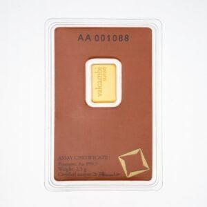 Zlatna poluga 2,5 grama Valcambi, prednja strana