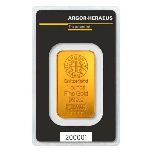 Zlatna poluga 1 unca (31,103 grama) Argor Heraeus Kinegram prednja strana