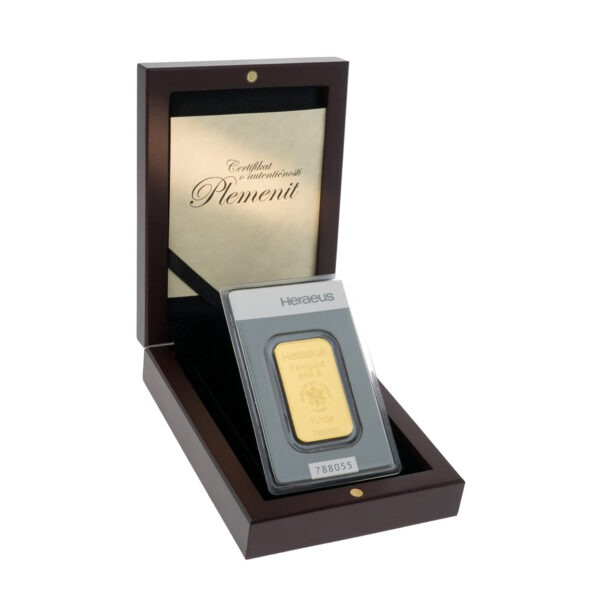 Zlatna poluga 1 unca Heraeus u drvenoj poklon kutiji