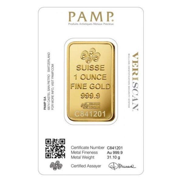Zlatna poluga 1 unca (31,103 grama) PAMP prednja strana
