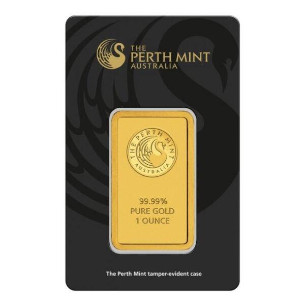 Zlatna poluga 1 unca (31,103 grama) Perth Mint prednja strana