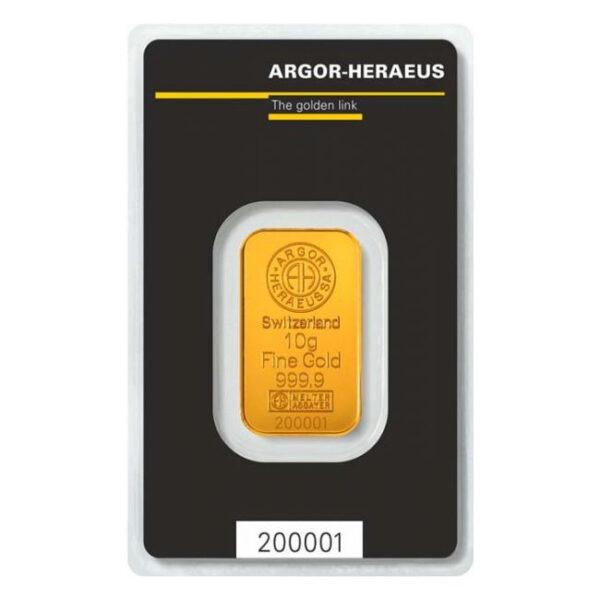 Zlatna poluga 10 grama Argor Heraeus prednja strana