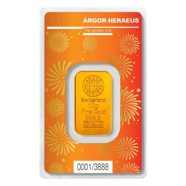 Zlatna poluga 10 grama Argor Heraeus limited edition Godina bika 2021 prednja strana