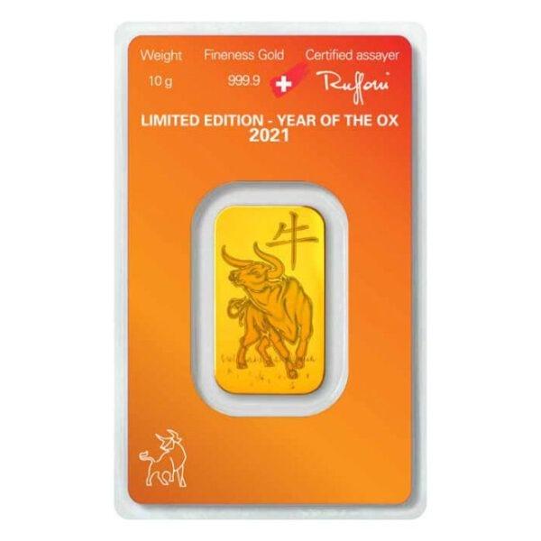 Zlatna poluga 10 grama Argor Heraeus limited edition Godina bika 2021 stražnja strana