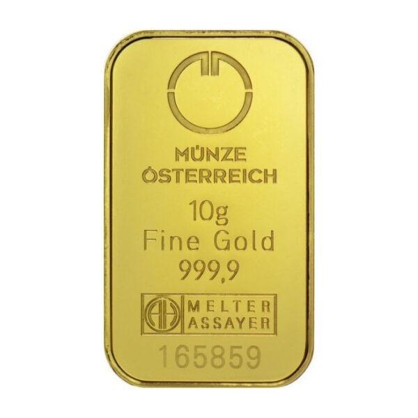 Zlatna poluga 10 grama Münze Österreich prednja strana