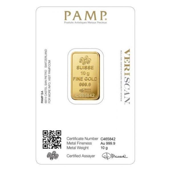 Zlatna poluga 10 grama PAMP prednja strana