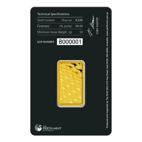 Zlatna poluga 10 grama Perth Mint stražnja strana