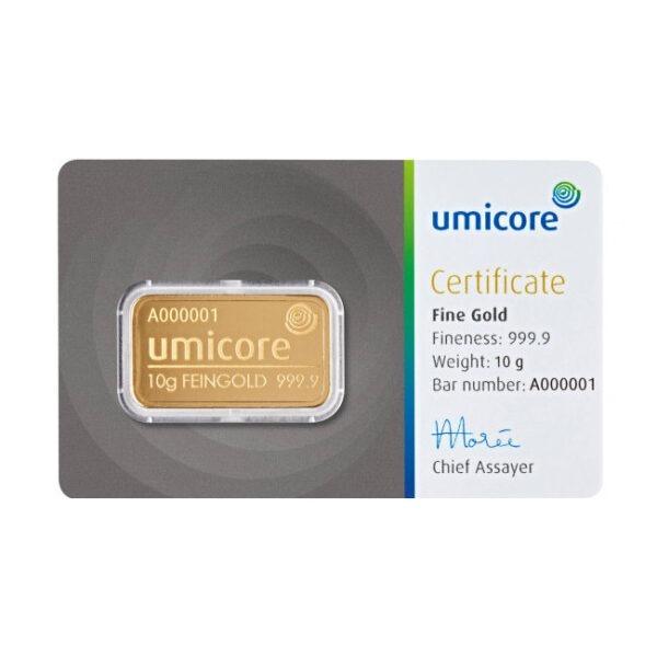 Zlatna poluga 10 grama Umicore prednja strana